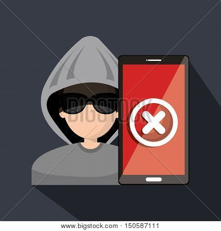 avatar man hacker and web security system design. vector illustration