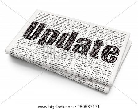 Web development concept: Pixelated black text Update on Newspaper background, 3D rendering