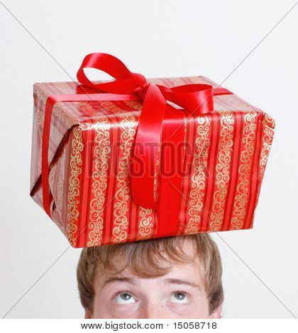 Christmas present on top of head