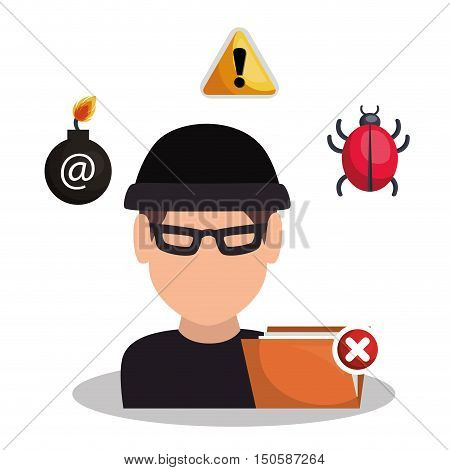 avatar man hacker and informatic alert security system design. vector illustration