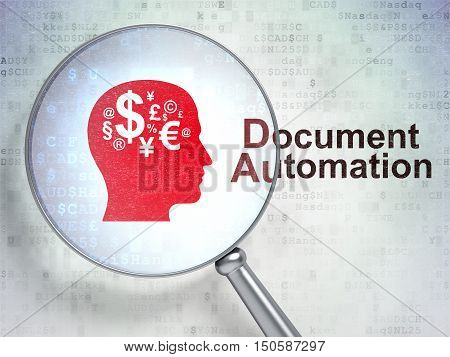 Business concept: magnifying optical glass with Head With Finance Symbol icon and Document Automation word on digital background, 3D rendering