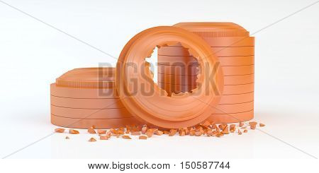 composition of 3d shattered clay target for shooting on a white surface