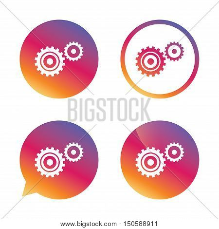 Cog settings sign icon. Cogwheel gear mechanism symbol. Gradient buttons with flat icon. Speech bubble sign. Vector