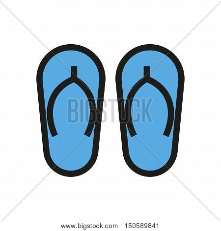 summer sandal icon on white background Created For Mobile Web Decor Print Products Applications. Icon isolated. Vector illustration
