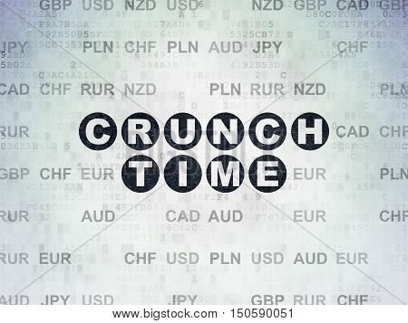 Business concept: Painted black text Crunch Time on Digital Data Paper background with Currency