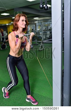 Fitness, sport, exercising lifestyle - sporty woman doing exercise on biceps machine in gym.