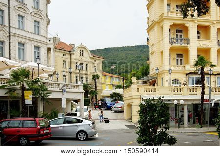 Opatija Croatia - September 15 2016: main street. The town on the Istria, located on the Gulf of Kvarner. Already in the late eighteenth century known spa town. In the nineteenth century and early twentieth century the capital of the