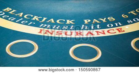 A Blackjack Insurance on Green Felt Table