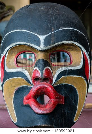 An Inuit Totem Pole Mask in Vancouver