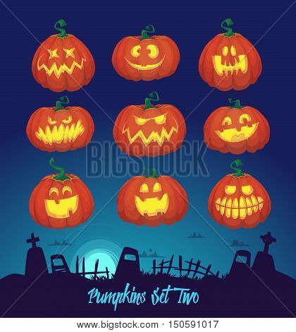 Halloween decoration Jack-o-Lantern set and cemetery background. Pumpkins designs with different facial expressions