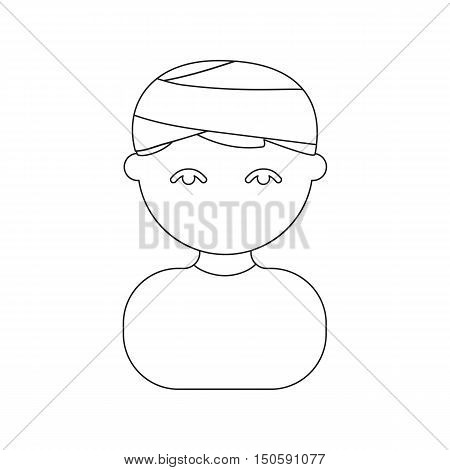 Person with a bandage head injury icon cartoon.