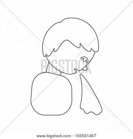 Sick man vomiting icon cartoon - heath and wellness.