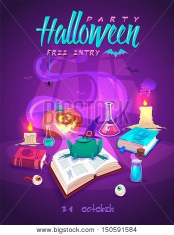 Magic book with smiling frog . Halloween cardposter. Vector illustration.