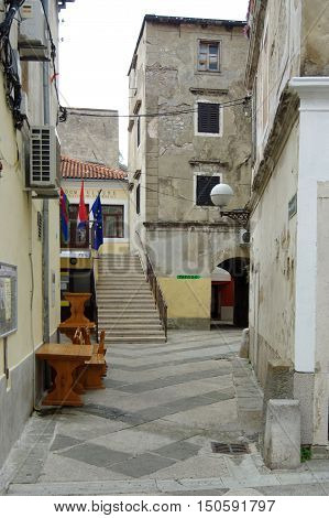 Senj Croatia - September 16 2016: old city. A small town in northern Croatia located on the Adriatic coast. The oldest parts of buildings in the old town come from the fifteenth century. You can see narrow streets and old buildings.