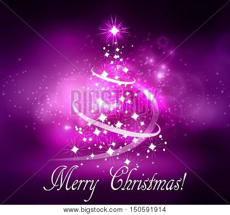 Vector abstract dark bokeh fuzzy background Christmas tree