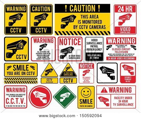 Video surveillance signs. CCTV
