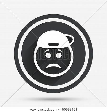 Sad rapper face sign icon. Sadness depression chat symbol. Circle flat button with shadow and border. Vector