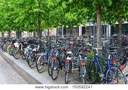 Bicycles are the main form of transportation in the many European cities and parking areas like this are a common sight.