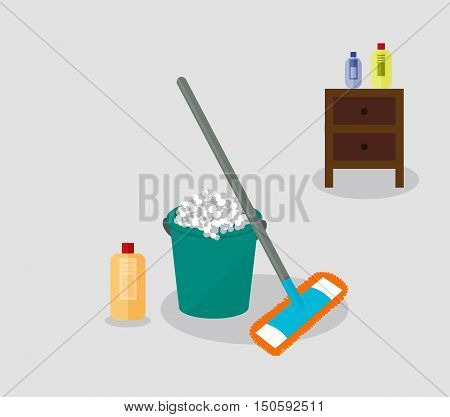 Tools for housekeeping: a green bucket with soapy foam, MOP with grey handle and orange cloth and yellow bottle of detergent with a red cover. Brown bedside table. Vector illustration