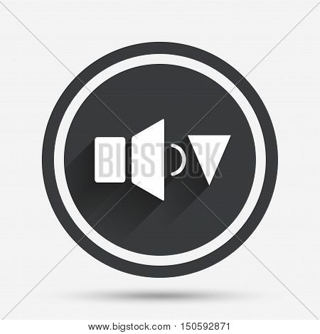 Speaker low volume sign icon. Sound symbol. Circle flat button with shadow and border. Vector