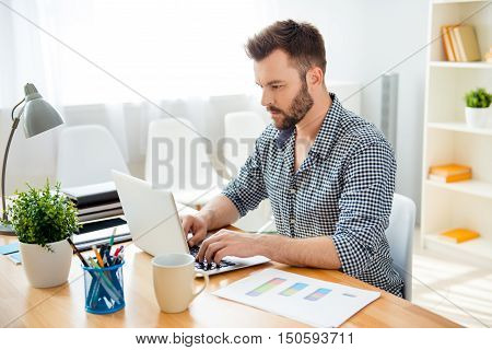 Handsome Bearded Concentrated Businessman Work On Laptop