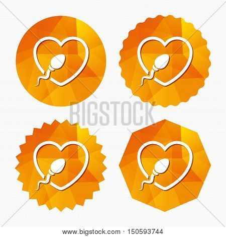 Sperm sign icon. Fertilization or insemination symbol. With heart. Triangular low poly buttons with flat icon. Vector