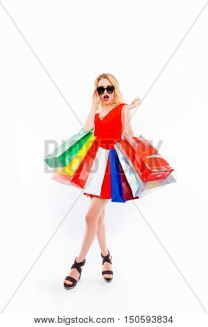 Sale! Glamour Woman With Paperbags Saw Discount In Shopping Center