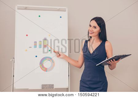 Young Businesswoman Holding Folder And Making Presentation About Financial Growth Of Company