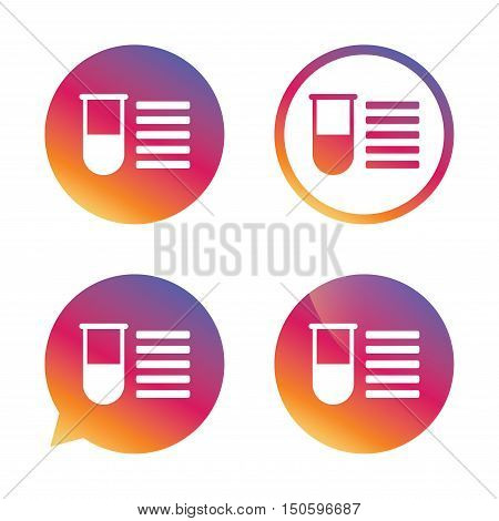Medical test tube sign icon. Test list. Laboratory equipment symbol. Gradient buttons with flat icon. Speech bubble sign. Vector