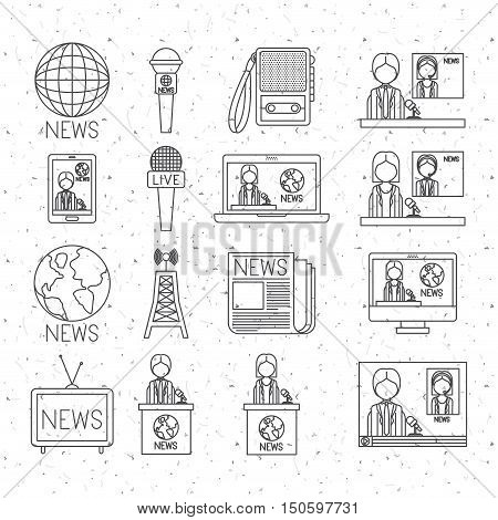 News silhouette icon set. News media communication broadcasting theme. Texture background. Vector illustration