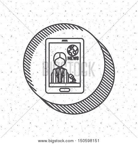 News Presenter man inside smartphone icon. News media communication broadcasting theme. Texture background. Vector illustration