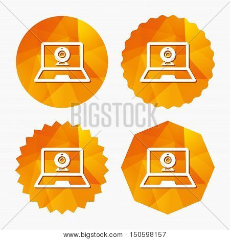 Video chat laptop sign icon. Web communication symbol. Website webcam talk. Triangular low poly buttons with flat icon. Vector