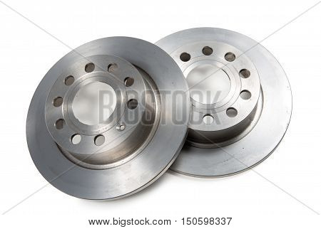 two brake discs isolated on a white background
