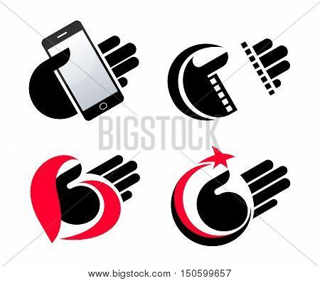 concept objects in hand. isolated smart phone filmstrip heart moon star vector icons eps10.