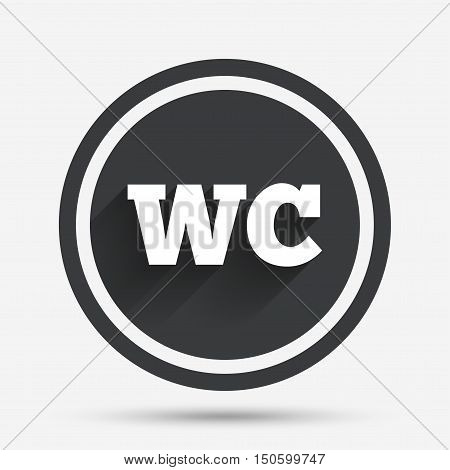 WC Toilet sign icon. Restroom or lavatory symbol. Circle flat button with shadow and border. Vector
