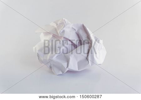 Crumpled paper ball on a white background