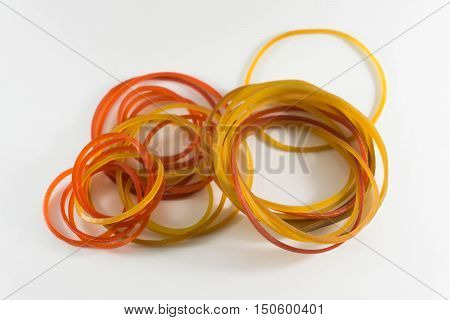 Rubber bands on white background , color.