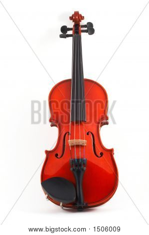 Violin Upright On White Background