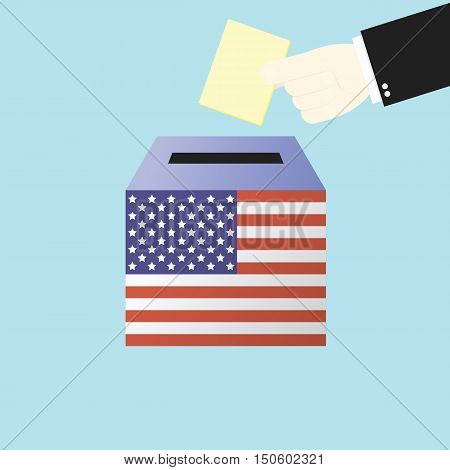 Voting Concept By Hand Putting Paper In The Ballot Box Usa