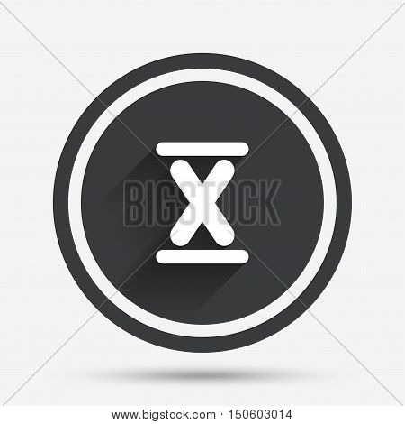 Roman numeral ten sign icon. Roman number ten symbol. Circle flat button with shadow and border. Vector