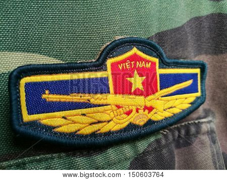 Vietnam flag and Vietnamese army patch on solder's uniform