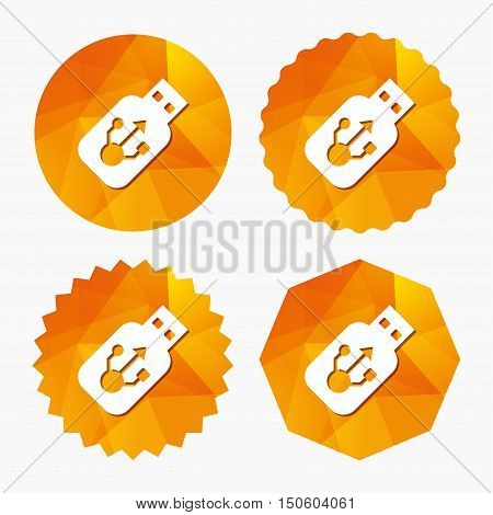 Usb sign icon. Usb flash drive stick symbol. Triangular low poly buttons with flat icon. Vector