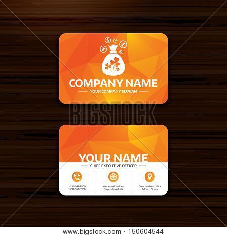 Business or visiting card template. Money bag with three leaves clovers and coin sign icon. Saint Patrick trefoil shamrock symbol. Phone, globe and pointer icons. Vector