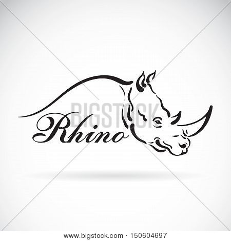Vector of hand sketch a rhino head on a white background. Animal design.