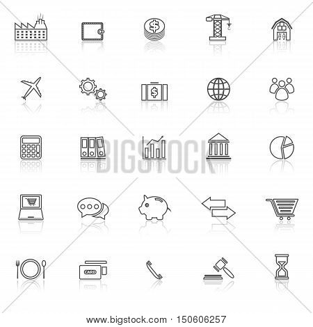 Economy line icons with reflect on white background, stock vector