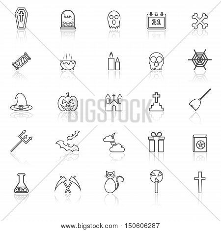 Halloween line icons with reflect on white background, stock vector
