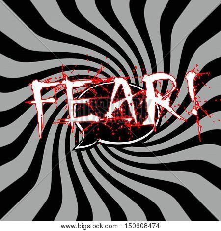 Fear Speech bubbles wording on Striped sun black-gray background