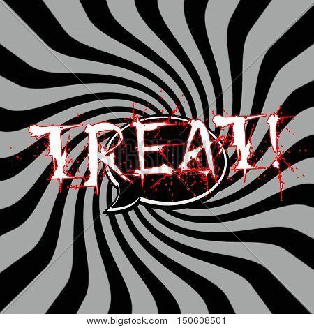 Treat Speech bubbles wording on Striped sun black-gray background