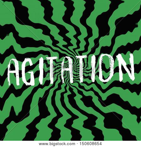 agitation wording on Striped sun black-green background