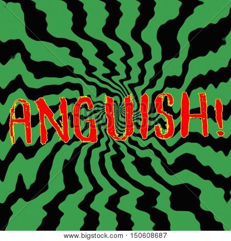 anguish red wording on Striped sun black-green background
